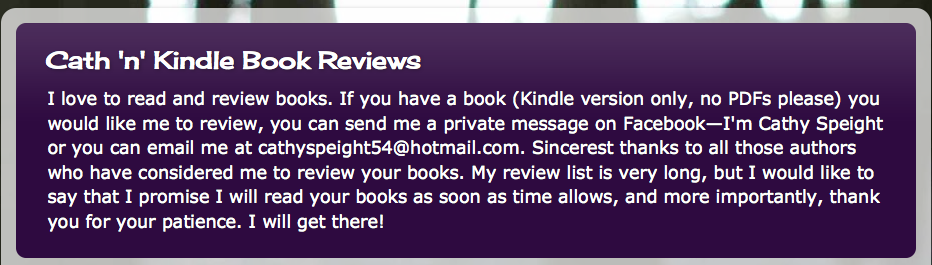 Cath 'n ' Kindle Book Reviews
