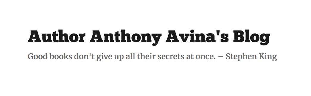 Author Anthony Avina's Blog